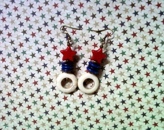 Red, White and Blue Patriotic Star Earrings (2088)