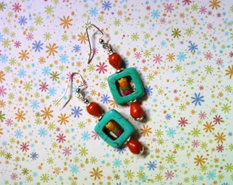 Turquoise, Orange, Pink, Yellow and Green Earrings (2098)