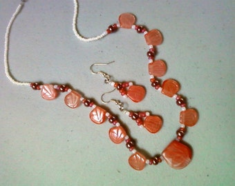 Orange, Brown and White Petal Necklace and Earrings (0490)
