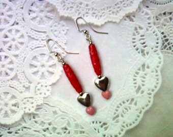 Red, Pink and Silver Heart Earrings (1877)
