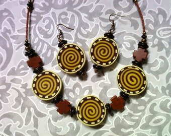 Yellow, Pea Green, Maroon, Brown and Black Necklace and Earrings (1556)