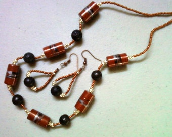 Copper, Black and Silver Necklace and Earrings (0477)