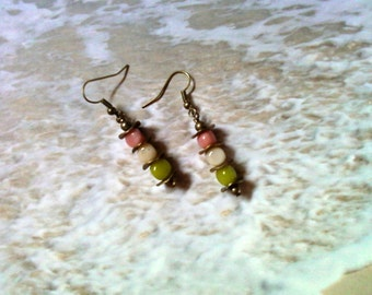 Pink, Lime Green and Ivory Earrings (1837)