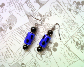 Royal Blue and Black Polka Dot Earrings (1900)