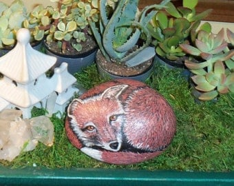 Red Fox Painted Art Rock