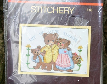 """Sunset Stitchery Kit - """"Let Us Give Thanks"""" - Bear family - embroidery, crewel"""