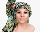 Aztec Green Turban Dreads Wrap, Head Wrap, Alopecia Scarf, Chemo Hat, Boho Gypsy Tribal, One Piece Wrap, Cotton Turban