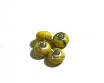 4 Yellow Large Hole Beads: Eurpoean Style Silver Core Acrylic Bracelet Beads for Crafting and Jewelry Making