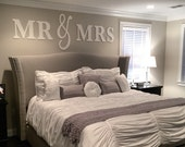 Mr & Mrs Wall Sign Above Bed Decor - Mr and Mrs Sign for Over Headboard - Home Decor Bedroom Wedding Gift (Item - MMW100)