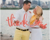 Thank You Sign - Calligraphy Style - Wedding Signs Photo Props - Just Married Wedding Signs for Thank You Cards (Item - TYC200)