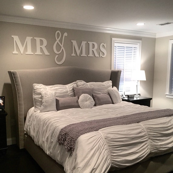 mr mrs wall sign above bed decor mr and mrs sign for over. Black Bedroom Furniture Sets. Home Design Ideas
