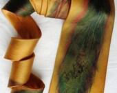 silk necktie Gold Multi Feather men unique luxury painted dyed