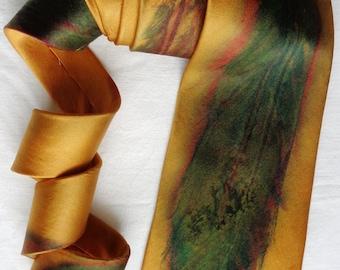 silk necktie Gold Multi Feather men unique luxury hand painted wearable art charmeuse neck tie fashion