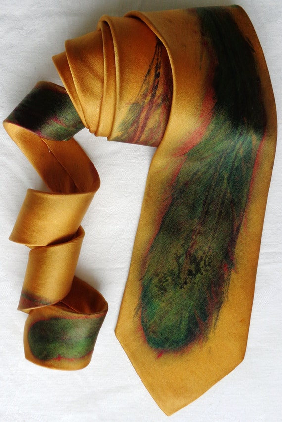 silk necktie Gold Multi Feather men unique luxury hand painted wearable art charmeuse neck tie fashion
