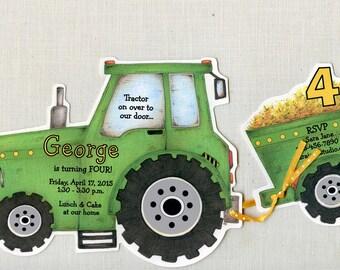 40 Green Farm Tractor Boy Birthday Party Invitations | Personalized 5x7 Invitations | Tractor Party Invite | Artfully Invited | Sara Jane |
