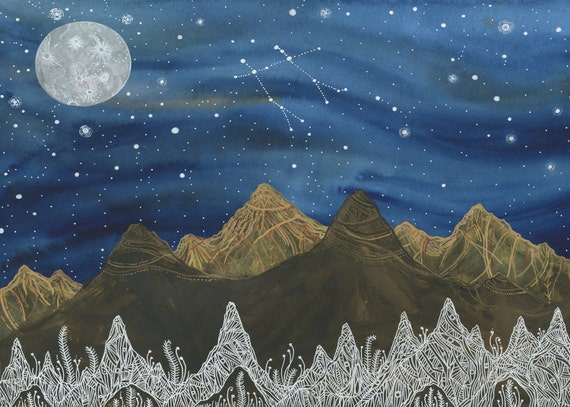 Original Painting-Gemini & the Harvest Moon