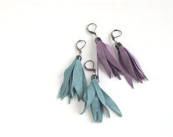 Set of two pairs Suede leather tassel earrings in smoky blue and smoky violet