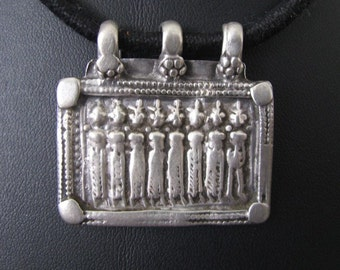 Antique Indian Amulet, Old Indian Amulet, Ethnic Tribal,  Seven Mothers (Sapta Matrikas), Rajasthan, High Grade Silver,10.2  grams
