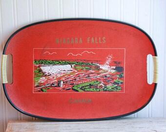 Niagra Fall Tray, Canada Tray, Vintage Tray, Souvenir Tray, Red Canadian, Mid Century Tray, Niagra Souvenir, 1960s Niagra Falls