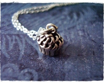 Tiny Cupcake Necklace - Tiny Sterling Silver Cupcake Charm on a Delicate Sterling Silver Cable Chain or Charm Only