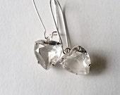 Crystal Heart Rhinestone Earrings, Crystal Clear Sweetheart Jewelry