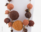 Knitted crocheted brown wire necklace bubbles jewelry accessory unique neck  beads copper exclusive Regina Doseth handmade Lithuania Eu