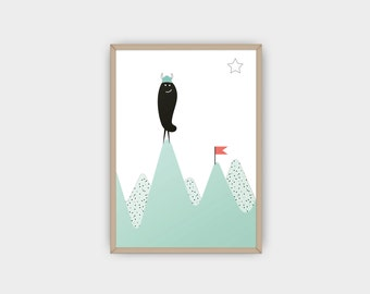Nursery Decor Mountain Print / Minimalist Kids Room / Kids Decor / Toddler Room / Monster Poster / Mint Kids Poster / Baby Shower Gift
