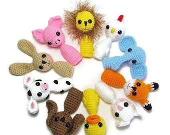 Animal Finger Puppets for Toddlers & Kids Finger Puppets - Crochet Finger Puppets - Toys for Toddlers - Childrens Toys - Animal Puppets