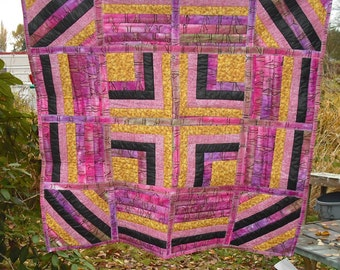 Lap Quilt Wall Hanging Tapestry Baby Crib Patchwork Quilted Fabric Lined Cotton Purple Pink Black Gold Country Home Decor Cover Blanket