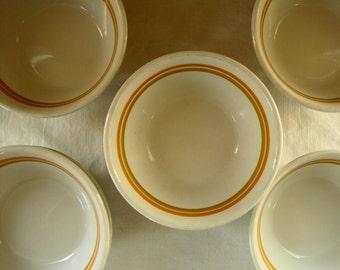 7 Shenango Dessert Bowls Dinerware Orange  & Brown Stripe Bowl Stack of 7 Shenango Dinerware Bowls Soup Bowls Ice Cream Bowls