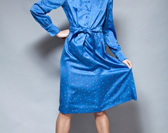 vintage 1970s shirtdress blue secretary dress belted satin long sleeves L XL