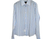 Vintage Boho Blue White Striped Shirt M Medium Hippie Psychedelic Exclusive Design Cavalli
