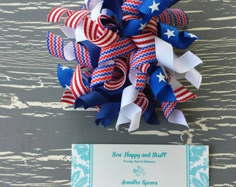 4th of July Korker Bow, 4th of July Bow, Red white and Blue Korker, 4th of July Korker Bow. Patriotic Korker, 4th of July Curly Bow. Curly