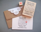 Save the Date Stamp Set - DIY Calendar Stamp with Heart over your date - Names and location -- Wedding Rubber Stamp