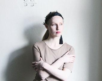 Beige knitwear dress - Light Brown ochre short sleeve fitting Midi dress  size S M