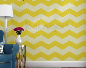 Chevron Wall Decal with Chevron Wallpaper Effect . Chevron Wall Decor - 15% Discount when order 5 Sets + CODE: WALLSTRIPES15