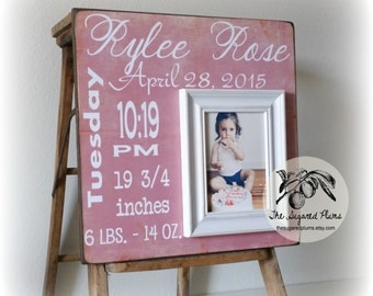 baby girl picture frame first birthday gift birth stats personalized baby gift 16x16 the sugared plums frames