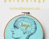 Hand Embroidery Hoop Art. Boy Crazy. Embroidered Phrenology. Hand Embroidery Brain. Stitched Text Hoop. Gifts for Teen Girls. Gag Gift.