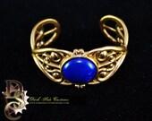 COURT VICTORIANA-Victorian Bracelet, Blue Stone, Steampunk, Lapis, Bronze, Cosplay, Costume Cuff, Wedding, Pastel Goth, Gothic Lolita,
