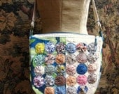 Upcycled Lined Purse / Bag with Vintage Yo-Yos, Vintage Lace Doily, Glass Beads, Antique Brass Zipper, Pockets, Lined, Canvas and Linen