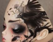 OOAK BJD Leekeworld Bonnie  - Corvid / Raven Floral Tattoo,  Body Blushing, Mohair Wig