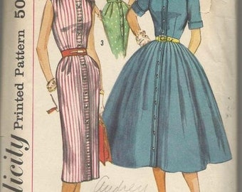 1950s Sheath Dress Full Skirt Dress Sleeveless or Short Sleeves Shaped Collar Simplicity 1946 Size 12 Bust 32 Women's Vintage Sewing Pattern