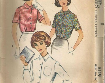1950s Ladies Blouse Short Sleeve Long Button Cuff Sleeve Peter Pan Collar McCall's 5119 Bust 33 McCall's 5119 Vintage Sewing Pattern