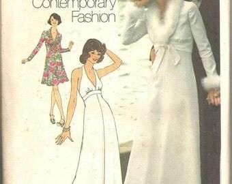 1970s Plunging Neckline Halter Dress Jacket Evening Dress Empire Waist Simplicity 6658 Uncut FF Size 8 Bust 31.5 Vintage Sewing Pattern
