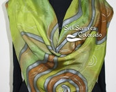 Green Silk Scarf. Olive, Brown Hand Painted Silk Shawl GREEN SWIRLS. Two Sizes. Bridesmaid Gift. Gift-Wrapped. Silk Scarves Colorado