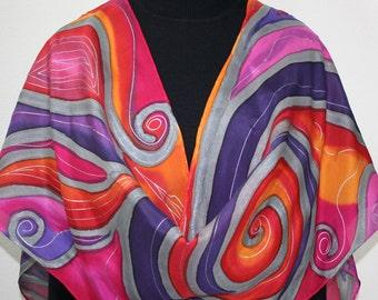 Silk Scarf Handpainted. Pink, Purple, Orange Hand Painted Shawl. Handmade Silk Wrap MAGIC ART. Large 14x72. Birthday Gift. Gift Wrapped.