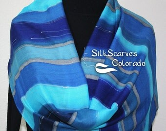 Blue, Turquoise, Navy Hand Painted Silk Wool Shawl Cold Mountain. Large Warm Scarf 14x68. Silk Scarves Colorado. Elegant Gift, Birthday Gift