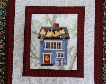 Quilted Birdhouse Wallhanging, Red and Black Quilt, Country Wall Banner, Art Quilt, OOAK Handmade Wall Quilt