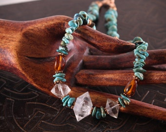 Raw Energy- Turquoise, Himalayan Quartz and Baltic Amber Necklace
