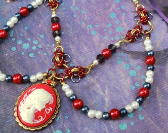 Sailor Mars Cameo beaded chainmail and ribbon necklace